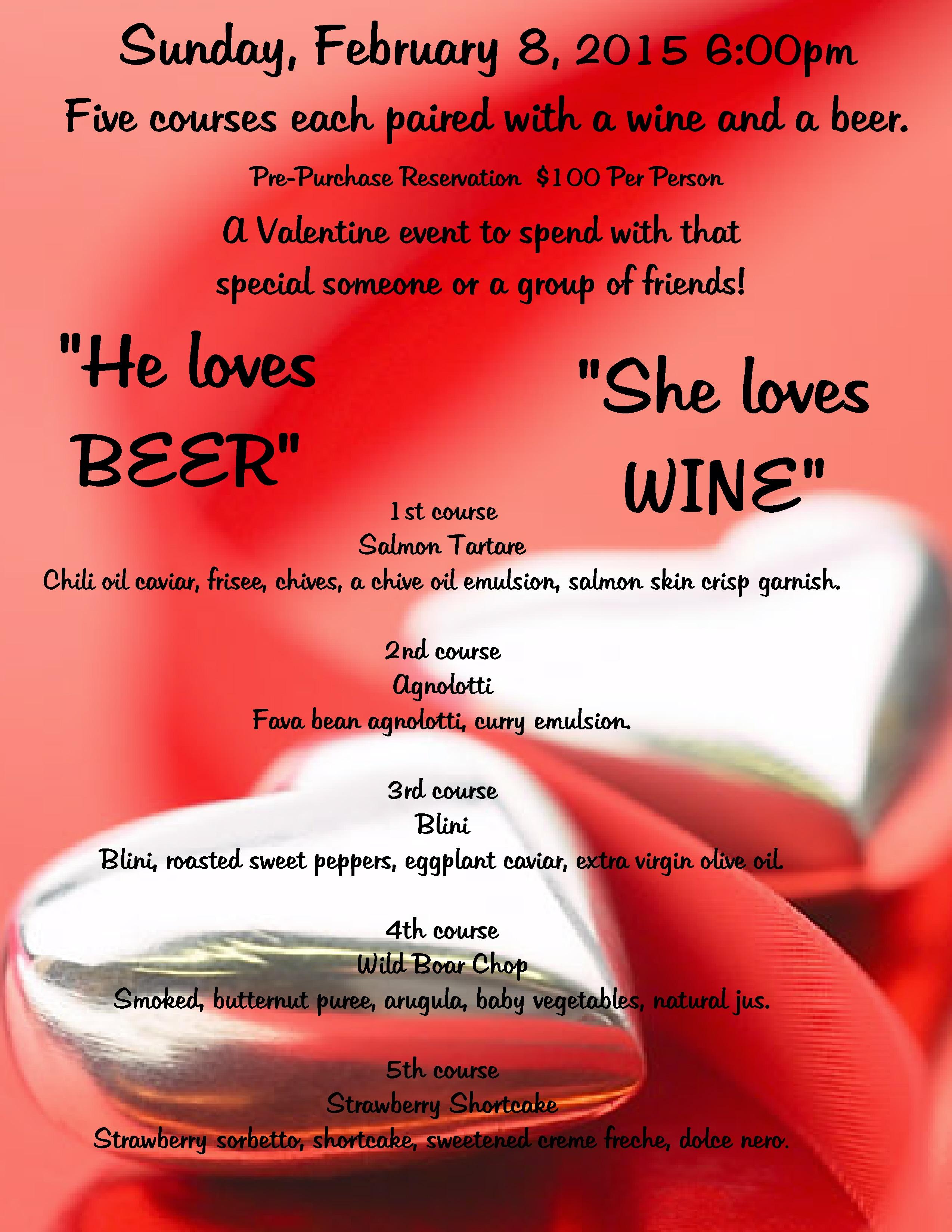 2015 He Loves Beer She Loves Wine DInner